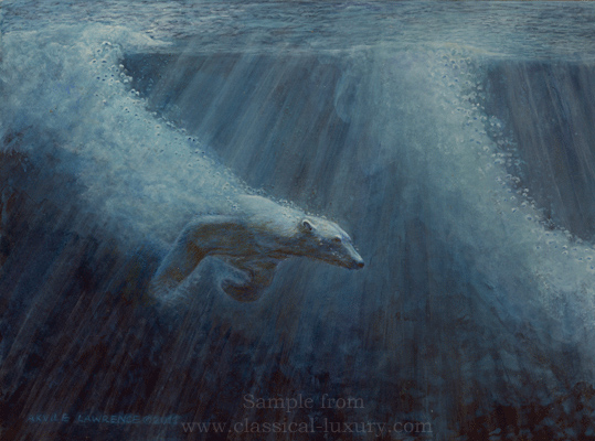 Polar Bear in Arctic Chase, Wildlife art by Akvile Lawrence
